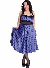 Plus Size Hell Bunny Purple Satin 1950's swing Rockability Polka dot Dress