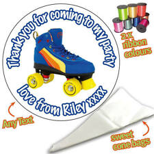 24 Personalised Roller Skates DIY Sweet Cone party bags Ribbon Kit Stickers -345