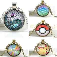 5 Styles Fashion Vintage Cabochon Glass Tibet Silver Chain Pendant Necklace Gift