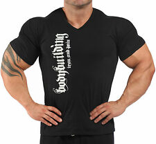 V-NECK BLACK  BODYBUILDING T-SHIRT WORKOUT  GYM CLOTHING J-113