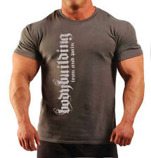 BODYBUILDING IRON & PAIN T-SHIRT WORKOUT  GYM CLOTHING CHARCOAL J-104