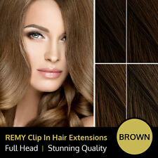 Brown Clip In Remy Human Hair Extensions Full Head