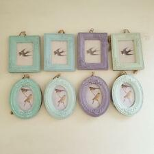 MINI PASTEL HANGING VINTAGE CHIC N SHABBY ORNATE PHOTO FRAMES OVAL OR RECTANGLE