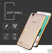 SIDE GOLD PLATED SOFT ULTRA THIN TPU BACK COVER CASE FOR OPPO F1 ,F1 PLUS ,NEO 7
