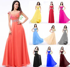 Women's Long Chiffon Cap sleeve Bridesmaid Dresses Formal Party Prom Gowns 4-18