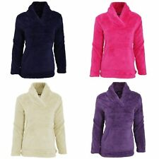 Womens/Ladies Long Sleeved Soft Fleece Pyjama Snuggle Top With Pocket