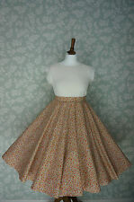 """VINTAGE 80s 50'S Circle SKIRT, SWING SKIRT, YELLOW, FLORAL, PIN UP, 32"""""""