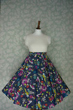 """VINTAGE 80s 50'S Circle SKIRT, SWING SKIRT, BIRDS, FLORAL, PIN UP, 33"""""""