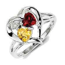 925 Sterling Silver Citrine, Diamond and Garnet Heart Ring - 0.01cttw