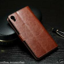 VINTAGE LEATHER FLIP WALLET COVER BACK CASE STAND FOR SONY XPERIA XA & XA ULTRA