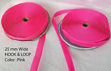 HIGH QUALITY 25MM SEW ON HOOK AND LOOP FASTENER CHOOSE LENGTH SEW ON Nylon -PINK