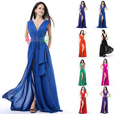 Women's V-neck Bridesmaid Evening Dresses Formal Party Formal Prom Chiffon Gowns