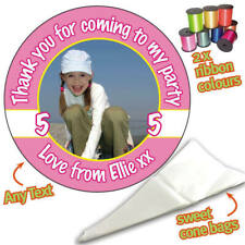 24 PHOTO PINK Personalised DIY Sweet Cone Ribbon Party Bags Kit Stickers 857