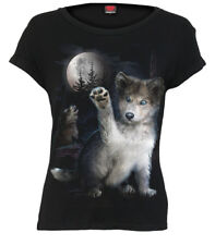 SPIRAL DIRECT WOLF PUPPY Boatneck Cap Sleeve Top/Ladies/Cute/Wolves/Moon/Top/Tee