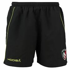 KooGa Mens Gents Rugby Leicester Tigers Microfibre Gym Shorts - Black/Green