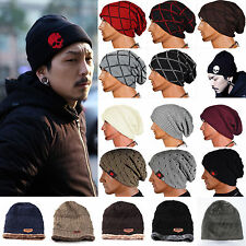 Womens Winter Skull Men Knit Beanie Reversible Baggy Wool Cap Warm Unisex Hat