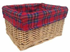 NATURAL WICKER STORAGE BASKET Christmas Gift Hamper with TARTAN Cotton Lining