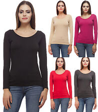 Akaira Ladies Black Hosiery Lycra 4x4 Stretch Full Sleeves Round Nk Plain Tshirt