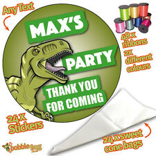 24 Personalised Dinosaur T-Rex DIY Sweet Cone Ribbon Party Bags Kit Stickers 915