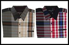 New Big Mens Knockout Jeans Checkered Casual Button Front Shirt Tan, Red SN#1894