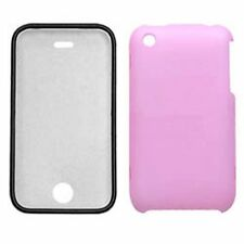 Hard Plastic Snap on Cover Fits Apple iPhone 3G 3GS Pink Rubberized With Lens AT