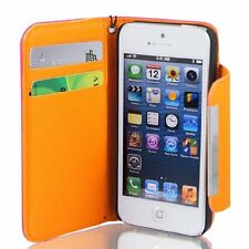 Fuchsia Faux Leather Flip Protective Case Cover Pouch for iPhone 5 5G
