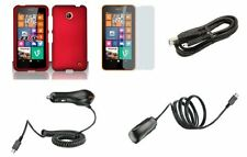 Nokia Lumia 635 - Premium Bundle Pack - Red Protective Hard Shell Cover Shield C