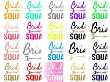 Bride Squad Hen T-shirt Transfer DIY Iron on Free Postage Hen party BRIDE TO BE