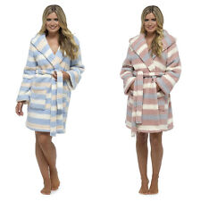 Ladies Foxbury Soft Warm Striped Sherpa Snuggle Fleece Dressing Gown Bathrobe