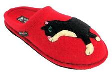 Haflinger Flair Babsy Women's Ziegelrot Red Cat Style Mule Slippers New