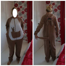 NEW LADIES ONESIE / SLEEPSUIT - BROWN & WHITE KANGAROO DESIGN WITH HOOD