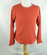 POLO RALPH LAUREN MEN'S M CREWNECK SWEATER CABLE KNIT CREW RIB ORANGE PULLOVER