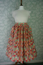 "Vintage Style Pockets Skirt ,patch work print, Waist 31""~ 32"", Handmade"