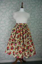 "Vintage Style Pockets Skirt , Yellow floral print, Waist 32""~ 33"", Handmade"
