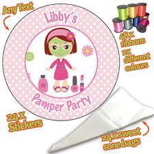 24 Personalised Pamper Party DIY Sweet Cone Ribbon Party Bags Kit Stickers 743