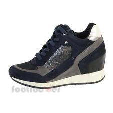 Scarpe Geox Donna Nydame Suede d540qa c4429 Sneakers Zeppa Navy