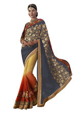 Designer Incredible Embroidered Pallu Saree in Slate Gray Color Stylish