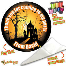 24 Personalised Halloween House DIY Sweet Cone Ribbon Party Bags Kit Sticker H10