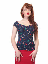 Collectif Dolores Paper Pin-up Doll Top Blue 1950s Vintage Retro Rockabilly New