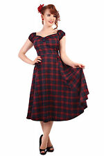 Collectif Dolores Tartan Doll Dress Red Blue 1950s Vintage Retro Rockabilly New