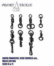 Carp Fishing Tackle Swivels - Chod Swivels Flexi Swivels Quick/Kwik Changers etc