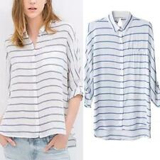 Women Summer Casual Loose Tops Blouse Striped Long Sleeve Chiffon T Shirt S-XL