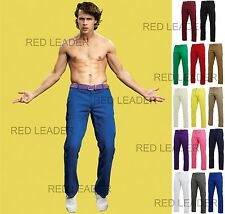 Mens Regular Fit Cotton Chino Trousers Jeans Pants Straight Leg Asquith Fox