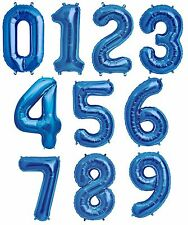 """NEW 34"""" Blue Number Balloons Happy Birthday Wedding New Years Party Graduate"""