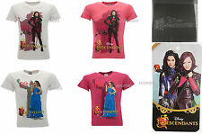 T-Shirt Descendants Original Disney Mal e Evie Fuchsia e Blanc Original Produit