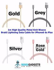 1m High Quality Metal Knit Weave Braid Lightning Data Cable for iPhone6 6s Plus