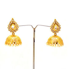 Jhumka Chandbali One Gram Gold Handmade Art Kundan Pearl Polki Earrings 7070