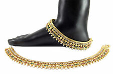 9blings Bridal style gold plated cz ruby emerald pearl anklet oa14