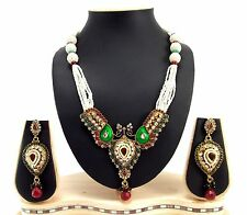 9blings peacock style ruby emerald pearl kundan cz necklace set p79