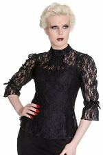 Spin Doctor Ladies Plus Size Gothic Victorian Steampunk Vintage Black Lace Top